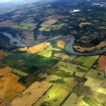 Flying over a branch of the Saskatchewan River in Alberta